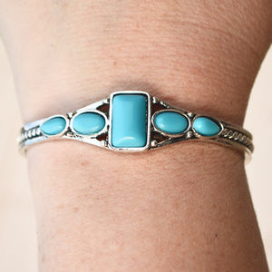 Jewelry - Blue Turquoise Cuff Bracelet Southwestern Silver